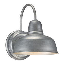 "John Timberland - Contemporary Barn 11 1/4"" High Galvanized Outdoor Wall Sconce - This industrial-style outdoor wall sconce will blend wonderfully in any contemporary or transitional decor. The wall light comes in a rustic galvanized metal finish ideal for both indoor or outdoor use. Galvanized metal finish. Maximum 72 watt bulb (not included). 11 1/4"" high. 8 1/2"" wide. Extends 10 1/2"" from wall.  For indoor or outdoor use.  Galvanized metal finish.  Maximum 72 watt bulb (not included).  11 1/4"" high.  8 1/2"" wide.  Extends 10 1/2"" from wall.  Back plate 6 1/4"" diameter"