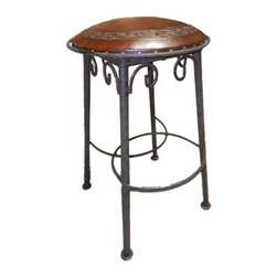 """New World Trading - Simple Iron Barstool (Set of 2) - Features: -Handmade wrought iron. -Hand tooled leather. -Saddle leather. -Nailheads. -Made by artisans. -Made 1 at a time. -Original designs. -Reviving an ancient art. Specifications: -Bar H: 30"""". -Counter H: 26""""."""