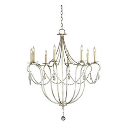 Currey and Company - Currey and Company 9891 Cyrstal Lights Traditional Chandelier - Large - A classic design is executed with a silver finish. A lovely form is augmented by a simple crystal trim making it perfect for many interiors. This Large Crystal Light Chandelier is companion to a number of other designs in this style