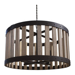 "Bordeaux 30"" Wine Barrel Drum Chandelier - Taking its inspiration from the French wine growing region of Bordeaux. Our Bordeaux Collection recreates the famous wine barrel light fixtures, which were created originally from the staves of French wine barrels and wrapped using the iron barrel straps. Bordeaux features an array of inspired selections, from the sturdy drum slat chandeliers to the elegant Tulip fixtures."
