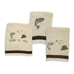 Bacova Guild, Ltd. - Born to Fish 25-Inch x 50-Inch Bath Towel - The Born to Fish bath set features soft, ivory towels embroidered with colorful fishing flies, rainbow trout and green fishing hat. A chocolate brown microfiber suede band accents the bottom edge.