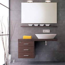 modern powder room by ladimoradesign.com