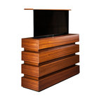 """Le Bloc TV lift cabinet. US made TV lift cabinet available in 5 woods & finishes - Le Bloc TV lift Cabinet designed by """"Best of Houzz 2014"""" for service Cabinet Tronix. Designer US made furniture perfectly married with premium US made TV lift system."""
