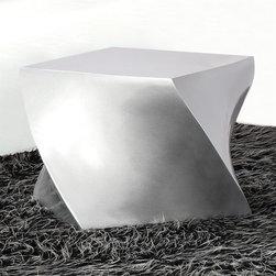 Fine Mod Imports - Cube Fiberglass Ottoman in Silver - Features: