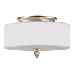 Crystorama - Crystorama 9503-SN Luxo 3 Light Flush Mounts in Satin Nickel - Say goodbye to builder basic and hello to overhead lighting that shines. The Luxo collection brings drum shade styling sure to brighten any room.
