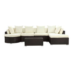 Modway - Montana 5 Piece Sectional Set in Espresso White - Nestled among the expanse of the Rocky Mountains lies a land of big skies and even bigger dreams. With its assorted pieces to fit every seating position, the Montana set is symbolic of the treasured nature of its namesake. While Montana is termed Big Sky Country and the Land of the Shining Mountains, the set itself is the stuff dreams are made of. Montana is comprised of UV resistant rattan, a powder-coated aluminum frame and all-weather cushions. The set is perfect for cafes, restaurants, patios, pool areas, hotels, resorts and other outdoor spaces.