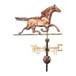 Renovators Supply - Weathervanes Polished Solid Copper Horse Weathervane | 23251 - Horse Weathervane. He runs like the wind! Race horse weathervane crafted of 100% copper with a polished finish. Solid brass cardinal points (N- S- E- W)measure 18 in. end to end. Included are: 40 in. black iron mounting pole- copper globes- and instructions. Race Horse measures 16 in. height- and 31 in. width.