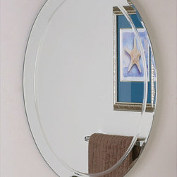 None - Frameless Aldo Wall Mirror - This oval frameless wall mirror features a frameless design and scalloped-bevel edges for a refined look. The mirror is made with double-coated silver to resist humidity and high-quality float glass for a clear reflection. Mounting hardware is included.