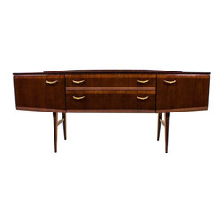 Meredew - Consigned Mid Century Credenza. Media console High Gloss, Splay legs, 60s, Retro - Circa 1960's