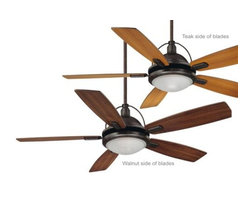 Savoy House - Savoy House Shasta Ceiling Fan in English Bronze - Savoy House Shasta Model SV-54-220-5RV-13 in English Bronze with Reversible Teak/Walnut Finished Blades.