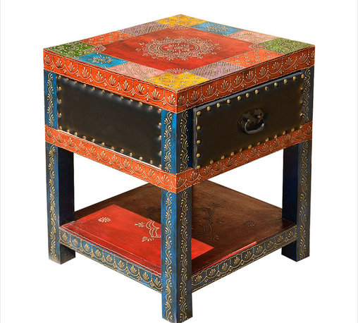 Sierra Living Concepts - Leather & Wood Hand Painted Square End Table Night Stand - Bring old world artistry, color, and charm into your home with our New Delhi Patchwork Square Night Stand.