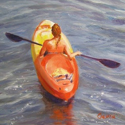 """Girl in a Kayak""  (Original) by Carmen  Beecher - I was standing on a bridge when this vision came out from under it, moving rapidly. In no time she was far upriver. I really enjoyed painting the red reflections on her skin and in the water. I want to be her!"