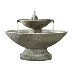 Campania - Jensen Garden Water Fountain, Travertine - The Jensen Fountain will definitely command attention. You will love the beautiful sounds of water bubbling out of the top bowl and over the top tier into the lower bowl. This lovely cast stone garden fountain will grace your garden for years to come.