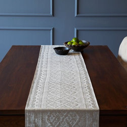 Metallic Cable Knit Runner - I love the twist of turning a cable-knit pattern into a metallic silkscreen. This has been a main part of my table design since Thanksgiving and has no signs of leaving any time soon.