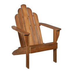 Southern Enterprises - Soleil Teak Adirondack Chair - Take a moment to unwind in this beautiful take on the classic outdoor seat. This elegant and comfortable Adirondack chair is a masterpiece of outdoor furniture. The angled back and curved top pair with the warm, unstained teak finish to add beauty and comfort to your outdoor living space. The classic flat arms offer relaxation or a convenient place to set a drink. Teak naturally weathers over time to a handsome, silvery gray color if kept outdoors; regular application of teak oil will maintain the light brown color of the wood. Simply clean the wood with mild soap and water when necessary. This classic style of this chair is perfect for outdoor or patio use and lends to rustic decor. The durable teak wood will provide handsome use through the years.