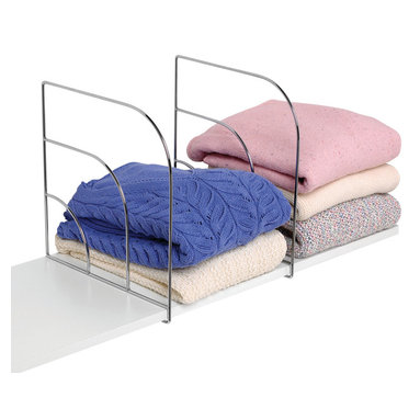 Spectrum Diversified Designs - Tall Shelf Dividers - Chrome - Organize your closet shelves with these Large Over the Shelf Dividers. Ideal for straightening up your piles of bulky clothes, towels and linens, the dividers easily slide over most solid shelves. Made of sturdy steel.
