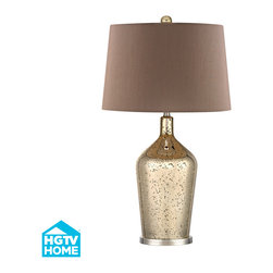 Dimond Lighting - 1-Light Table Lamp in Antique Gold Mercury with Polished Nickel - Dimond Lighting HGTV355 1-Light Table Lamp in Antique Gold Mercury with Polished Nickel