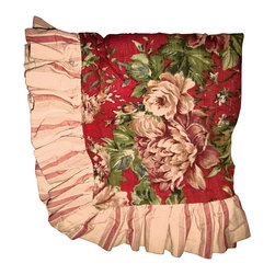 Garden Pillow Sham - A Euro-sham of vintage English garden pillow sham with applied ruffle in red and cream stripes. Envelope style back closure, gently used, great color and a must have for an English country bed.