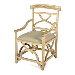 Cross Frame Chair - It whispers of a country home nestled amidst the lavender fields of Provence. The Cross Frame Arm Chair boasts the gentle curvature of carved crosses on the chair splat and below the seat. The graceful design imparts a certain airiness to your dining room, private sitting area, or library. The generously sized seat invites guests to linger in comfort while enjoying an exquisite repast or engaging in spirited conversation.