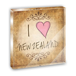 """Made on Terra - I Heart Love New Zealand Vintage Mini Desk Plaque and Paperweight - You glance over at your miniature acrylic plaque and your spirits are instantly lifted. It's just too cute! From it's petite size to the unique design, it's the perfect punctuation for your shelf or desk, depending on where you want to place it at that moment. At this moment, it's standing up on its own, but you know it also looks great flat on a desk as a paper weight. Choose from Made on Terra's many wonderful acrylic decorations. Measures approximately 4"""" width x 4"""" in length x 1/2"""" in depth. Made of acrylic. Artwork is printed on the back for a cool effect. Self-standing."""