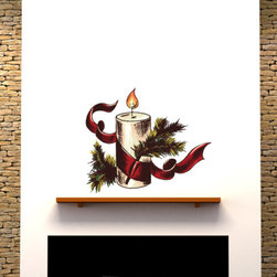 Christmas Candle Vinyl Wall Decal ChristmasCandleUScolor001; 36 in. - Vinyl Wall Decals are an awesome way to bring a room to life!