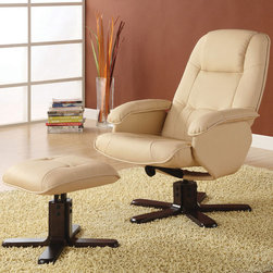 Coaster - 600141 Recliner With Ottoman - Ivory - Ivory bonded leather match swivel chair with adjustable tension knob to control back pitch.