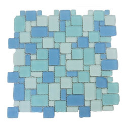 GlassTileStore - Sample-Coastal Seaside French Pattern Beached Glass Tile Sample - Sample-Coastal Seaside French Pattern Beached Glass Tile Sample   Samples are intended for color comparison purposes, not installation purposes.    -Glass Tiles -