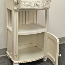 International Caravan - 1-Drawer Telephone Stand - Hand carved. Antique white finish. Assembly required. 18 in. W x 14 in. D x 31 in. H (25 lbs.)Add touch of vintage to your decor with this fabulous cabinet chest from International Caravan.