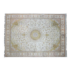 Oriental Rug 9'X12', Hand Knotted 250 Kpsi Ivory/Gold Silken Qum Area Rug SH9623 - Hand Knotted Silk Rugs are second to none when it comes to quality.  Silk fibers are much thinner allowing our weavers to maximum the knots per square inch in a rug.  This will escalate the labor as well as material in the rug.  These traits along with the cost of silk make hand knotted silk rugs some of the most expensive rugs in the world.