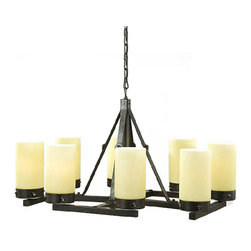 Antique Iron and Marble Shades Chandelier -
