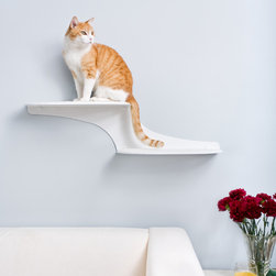 Cat Clouds Cat Shelves - On this shelf, cats appear to be floating on clouds along your wall space. Let them lounge on super strong metal platforms with soft comfortable pads covered in faux sheepskin fabric. The pads' magnetic bottom permits easy replacement if worn. Let your cat walk along your wall rather than your furniture.