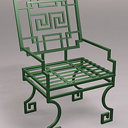 Greek Key Lounge Chair, Wrought Iron - These Greek key chairs, in wrought iron or aluminum and your choice of color, would make a stunning set with a dining table for al fresco dining.