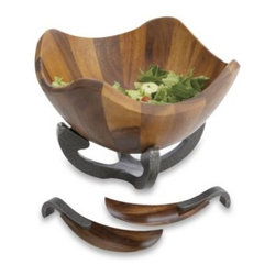 Nambe - Nambe Anvil Scroll Salad Bowl with Servers - With its fanciful flourishes and curves, the Anvil Scroll Salad Bowl with Servers is as lively and lovely as the fresh creations it's designed to hold.