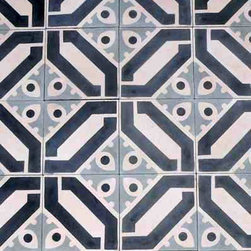 """Cuban Heritage Design 100 2A 8"""" x 8"""" - Handmade cement tile.  Also available in two other standard colorways.  Or, create your own using Heritage colors. Price per tile, polished finish and colors shown."""