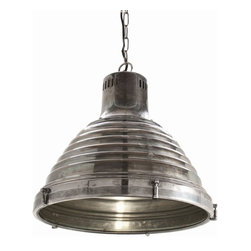 Arteriors - Kenneth Pendant, Large - Industrial inspired pendant with ribbed fluted shade in a vintage silver finsh  and clear glass diffuser.  Takes one 60w A19 Incandescent bulb.  Bulb not included.