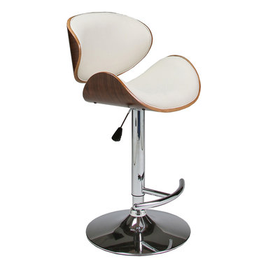Pastel Furniture - Pastel Jordana Hydraulic Lift Barstool - Chrome & Walnut Veneer Wood - PU Ivory - The Jordana barstool is a beautifully made contemporary hydraulic barstool with a simple yet elegant design that is perfect for any decor. An ideal way to add a touch of modern flair to any dining or entertaining area in your home. This barstool has a Chrome base made with a walnut veneer frame adding a traditional yet contemporary touch. The padded seat is upholstered in PU ivory offering comfort and style.