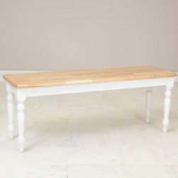 Boraam - Boraam Farmhouse Dining Bench - White/Natural - 36369 - Shop for Benches from Hayneedle.com! Attractive as well as functional the Boraam Farmhouse Dining Bench draws on traditional influences to create a simple piece of furniture for today's lifestyle. The natural-tone seat perfectly complements the white finish on the legs and apron. Constructed from durable hardwoods this bench complements the Farmhouse Dining Table (sold separately). Dimensions: 47.5L x 14W x 18H inches. About Boraam IndustriesThis product is manufactured by Boraam Industries. With many years of experience in the furniture industry Boraam is committed to providing well-styled top-quality home furnishings and furniture at reasonable prices. Based in Mundelein Ill. Boraam has its own tropical hardwood production facility in and outside the U.S.A.