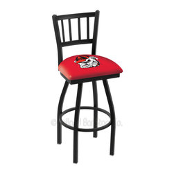 """Holland Bar Stool - Holland Bar Stool L018 - Black Wrinkle Georgia Swivel Bar Stool - L018 - Black Wrinkle Georgi Swivel Bar Stool w/ Jailhouse Style Back belongs to College Collection by Holland Bar Stool Made for the ultimate sports fan, impress your buddies with this knockout from Holland Bar Stool. This contemporary L018 Georgia """"Bulldog"""" stool carries a defined Jailhouse back that doesn't just add comfort, but sophistication. Holland Bar Stool uses a detailed screen print process that applies specially formulated epoxy-vinyl ink in numerous stages to produce a sharp, crisp, clear image of your desired logo. You can't find a higher quality logo stool on the market. The plating grade steel used to build the frame is commercial quality, so it will withstand the abuse of the rowdiest of friends for years to come. The structure is powder-coated black wrinkle to ensure a rich, sleek, long lasting finish. Construction of this framework is built tough, utilizing solid welds. If you're going to finish your bar or game room, do it right- with a Holland Bar Stool. Barstool (1)"""