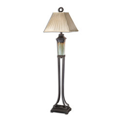 Uttermost - Uttermost Olinda Floor Lamp 28545 - This floor lamp has a light green and metallic brown porcelain body with antiqued dark brown metal details. The pleated square shade is a silkened champagne textile.