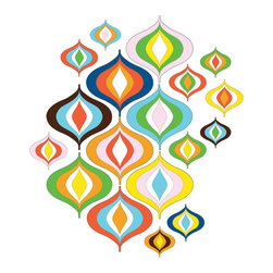 """WallPops - Bargello Wave Wall Art Decal Kit - Granny gone wild in a groovy 60s color pallette! Don't just say you're not afraid of color prove it with this happy wall art kit.  This kit comes on two 17.25"""" x 39"""" sheets and as always WallPops are repositionable and totally removable."""