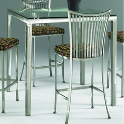 """Johnston Casuals - Parsons Contemporary Dining Table - Give your dining room a dramatic facelift with this stylish Parsons Contemporary Gathering Table. With its sleek and simple 4-leg base, solid powder-coat metal construction, and 42"""" square beveled-edge glass top, this gathering table is sure to modernize your dcor. Available in a myriad of metal finishes, this gathering table is certain to meet your design needs. And because each gathering table is individually hand-made in Johnston Casuals' USA factory, you can count on years of lasting quality and aesthetic appeal! Gathering Table Features: -Available in many metal finishes. -High-quality powder-coat metal construction. -42"""" Square beveled-edge glass table top. -Seats up to 4. -Choice of 36"""" (for use with counter stools) or 42"""" (for use with barstools) table height. -Commercial-grade welding. -Individually hand-crafted in the USA. -Sleek and simple 4-leg base. -10-Year structural failure warranty on metal frame. Dimensions: -Overall dimensions (counter height): 36"""" H x 42"""" W x 42"""" D. -Overall dimensions (bar height): 42"""" H x 42"""" W x 42"""" D. More customization options may be available for an additional charge. Also, please be aware that as each item is created individually, slight variations in finish and shape may occur. Why Choose Johnston Casuals? Superior Quality, American-Made Durability: All Johnston Casuals furniture is hand-made from high-quality materials right here in the USA. Commercial-grade and tested tough, no one does it better. Superior welding techniques and unwavering attention to detail ensure that every piece is built to last! Unrivaled Selection, Creative Design Solutions: With a myriad of metal finishes and a multitude of available upholsteries to choose from, Johnston Casuals makes it a snap to create style solutions that are uniquely you. Keep it simple or mix and match across a wide range of attractive contemporary designs. Life is always better with options! Eco-Friendly Products, Effor"""
