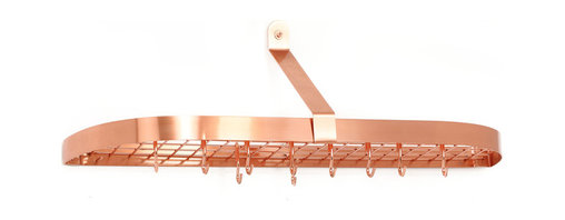 "Old Dutch International - Satin Copper Wall Pot Rack with Grid & 12 Hooks - Why waste cabinet storage space, when you could be putting your ceiling to work? Hang this sleek, sturdy rack in your kitchen and employ the 12 hooks and grid shelf (36"" x 9"" x 10¾"") to house all your pots in style."