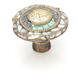 "The Art of Decorative Hardware - Schaub Solid Brass, Symphony, Fair Isle, Round Knob, 1-1/2"" dia, Imperial Shell, White Mother of Pearl, Aged Dover"