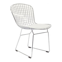 Poly + Bark - Bertoia Style Wire Dining Chair in White (Set of 2) - The distinctive Wire Chair, designed by Harry Bertoia in 1952, is a fascinating feature of any room. The curves of the chair, formed of welded steel latticework, create a modern look and ensure seating comfort. The Leatherette cushion complements the elegant, shiny metal frame. The Italian designer had an extensive interest in the technical execution of bent rods, which resulted in his unique and appealing design classics.