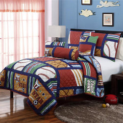 None - All Star Cali Collection 5-piece Quilt Set - This All Stars Quilt Set from Cali Collection is ideal for a sports fan who dreams of playing in the Big Game. This kids quilt is made from machine-washable microfiber to keep the little one warm and cozy.