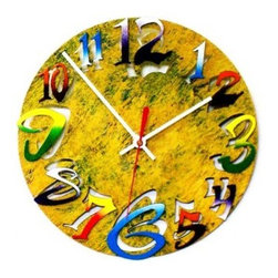 David Scherer 9 in. Yellow Mod Disk Wall Clock - Crazy never looked so chic - thank you, David Scherer 9 in. Yellow Mod Disk Wall Clock. A quintessential David Scherer design, this metal clock features double-layered numbers - multi-colored numerals above, cool cutouts below - all on a lively, multi-hued yellow background. Bold style has never been easier.About David Scherer David Scherer is an American artist who works in a variety of mediums, bringing an intriguing, distinctive style and vibrancy to all of his three-dimensional works of art. Well-known for his 3-D paintings, Scherer's pioneering focus and innovative techniques fuse an explosion of textures and colors that ignite energy that is evident in every creation. Scherer attributes his unique direction to his cumulative experience of more than 30 years as an artist.