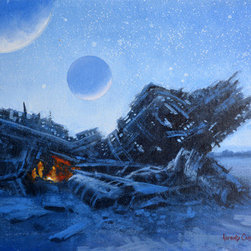 Marooned Study (Original) by Armand Cabrera - Space travelers that have crashed on a planet and are marooned.