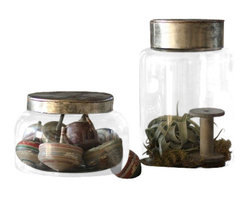 "Silver Nest - Glass Jar with Metal Lid- Small- 6.5""h 9.5""w - Glass Jar with Metal Lid- Small"