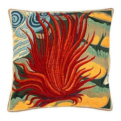 "Jules Pansu - Le Feu Tapestry Pillow - Since 1878 Jules Pansu {Paris} has created & manufactured some of the most beautiful wall tapestries and fabrics available anywhere. And now their collection includes exquisite home accessories that use the time honored tradition of jacquard weaving and lead the way in innovative textile design. Today Jules Pansu celebrates 130 years of enriching homes with vivid colors, savoir-faire and innovation. Features: -Color: Flame Multi. -Material: Cotton twill. -Insert filled with 95% white goose feathers / 5% white goose down. -210 Thread count. -Dry clean only. Dimensions: -18"" W x 18"" D, 2 lbs."