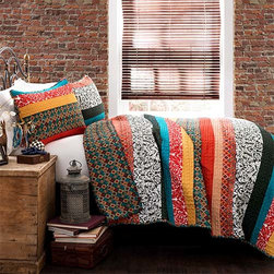 Lush Decor - Boho Stripe Turquoise and Tangerine Three-Piece Full/Queen Quilt Set - - Free spirited, untamed, rustic and yet chic, boho stripe 3 piece quilt set is a perfect piece of modern time creativity. Unique designs in bright and colorful floral and geometric patterns run across the quilt surface with back in geometric pattern. Made from 100% cotton, this set is soft to the hand and has wonderful quilting details  - Set Includes: 1 Quilt, 2 shams  - Care Instructions: Machine wash cold, gentle cycle, only non chlorine bleach when needed, tumble dry low, steam if needed, do not iron   - Fill Content: 100% polyester Lush Decor - C21842P14-000